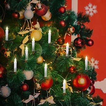 30 LED Kerzen, Weihnachtskerzen Lichterkette, Weihnachts Kerzen Kabellos mit Fernbedienung,Dimmbar Kerzenlichter Flammenlose Weihnachtskerzen für Weihnachtsbaum, Weihnachtsdeko, Hochzeit, Party - 4