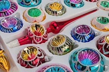 39 TLG. Glas-Weihnachtskugeln Set in Hochglanz Vintage Style - Christbaumkugeln - Weihnachtsschmuck-Christbaumschmuck-Reflektorkugeln-Reflexkugeln-Reflector Balls- - 3