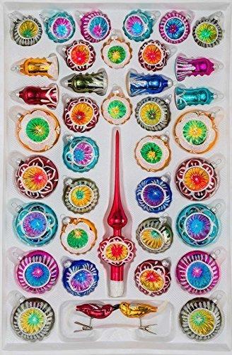 39 TLG. Glas-Weihnachtskugeln Set in Hochglanz Vintage Style - Christbaumkugeln - Weihnachtsschmuck-Christbaumschmuck-Reflektorkugeln-Reflexkugeln-Reflector Balls- - 1