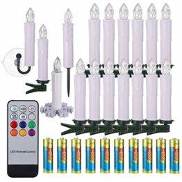 40/30/20/10x Set Kerzen Weihnachtskerzen mit Batterien Fernbedienung Timer RGB&Warmweiß inkl.Klammer, Saugnapf und Steckdorne für Weihnachten Weihnachtsbaum Hochzeit Deko Weiß 40x - 1