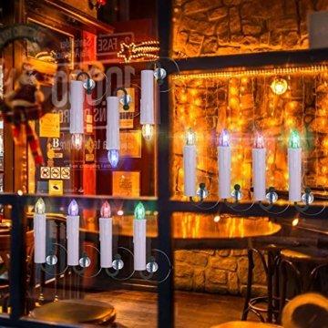 40/30/20/10x Set Kerzen Weihnachtskerzen mit Batterien Fernbedienung Timer RGB&Warmweiß inkl.Klammer, Saugnapf und Steckdorne für Weihnachten Weihnachtsbaum Hochzeit Deko Weiß 40x - 6