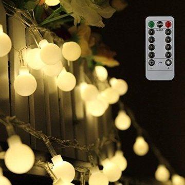 80 Leds Globe Lichterkette 10 Meter, Tomshine Warmweiße Kugel Lichterkette mit IR Fernbedienung, Batteriebetriebene/IP44 Wasserdicht - 1