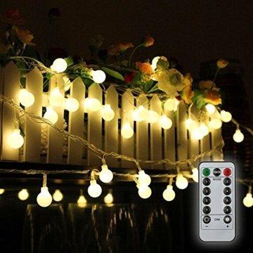 80 Leds Globe Lichterkette 10 Meter, Tomshine Warmweiße Kugel Lichterkette mit IR Fernbedienung, Batteriebetriebene/IP44 Wasserdicht - 5