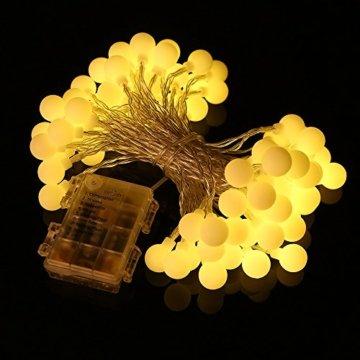 80 Leds Globe Lichterkette 10 Meter, Tomshine Warmweiße Kugel Lichterkette mit IR Fernbedienung, Batteriebetriebene/IP44 Wasserdicht - 8