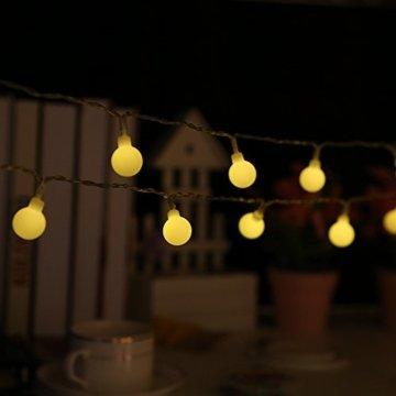 80 Leds Globe Lichterkette 10 Meter, Tomshine Warmweiße Kugel Lichterkette mit IR Fernbedienung, Batteriebetriebene/IP44 Wasserdicht - 9