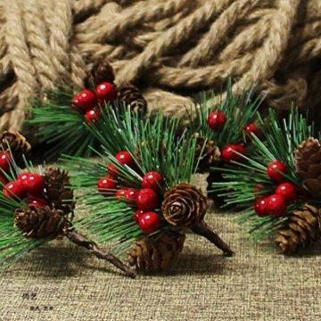 Amosfun 10 Stücke Beerenzweige Tannenzweige Dekozweige Blumenstrauß Künstliche Beeren Zweige für Weihnachten Kranz und Girlande DIY Baumschmuck Christbaumschmuck - 3