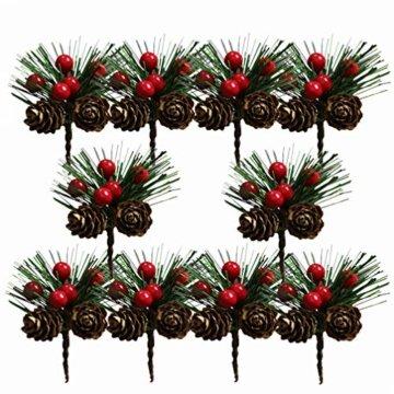 Amosfun 10 Stücke Beerenzweige Tannenzweige Dekozweige Blumenstrauß Künstliche Beeren Zweige für Weihnachten Kranz und Girlande DIY Baumschmuck Christbaumschmuck - 1