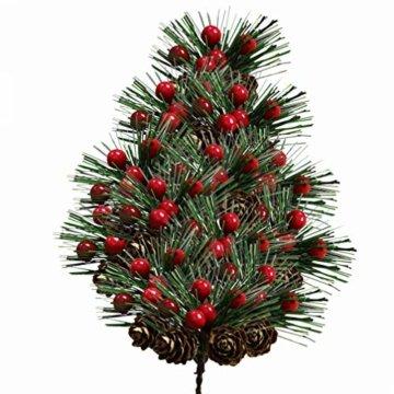 Amosfun 10 Stücke Beerenzweige Tannenzweige Dekozweige Blumenstrauß Künstliche Beeren Zweige für Weihnachten Kranz und Girlande DIY Baumschmuck Christbaumschmuck - 6