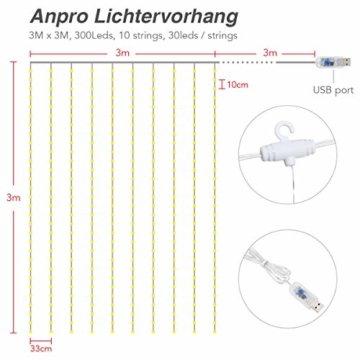 Anpro LED USB Lichtervorhang 3m x 3m, 300 LEDs USB Lichterkettenvorhang mit 8 Lichtmodelle für Partydekoration deko schlafzimmer, Innenbeleuchtung, Warmweiß - 2