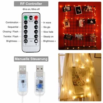 Anpro LED USB Lichtervorhang 3m x 3m, 300 LEDs USB Lichterkettenvorhang mit 8 Lichtmodelle für Partydekoration deko schlafzimmer, Innenbeleuchtung, Warmweiß - 3