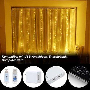 Anpro LED USB Lichtervorhang 3m x 3m, 300 LEDs USB Lichterkettenvorhang mit 8 Lichtmodelle für Partydekoration deko schlafzimmer, Innenbeleuchtung, Warmweiß - 6