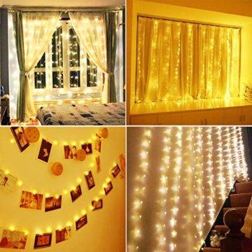 Anpro LED USB Lichtervorhang 3m x 3m, 300 LEDs USB Lichterkettenvorhang mit 8 Lichtmodelle für Partydekoration deko schlafzimmer, Innenbeleuchtung, Warmweiß - 7