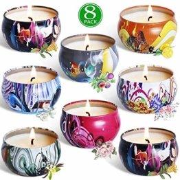 Aromakerzen Geschenkset-Duftkerzen set aus Sojawachs,Lavendel, Feige, Zitrone, Rose, Jasmin, Vanille, Bergamotte, Blumen,2.5oz * 8,Meilo - 1