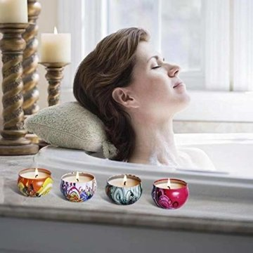 Aromakerzen Geschenkset-Duftkerzen set aus Sojawachs,Lavendel, Feige, Zitrone, Rose, Jasmin, Vanille, Bergamotte, Blumen,2.5oz * 8,Meilo - 5