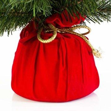 artplants.de Mini Weihnachtsbaum WARSCHAU, grün, rot, 60cm, Ø 40cm - Plastik Tannenbaum - 3