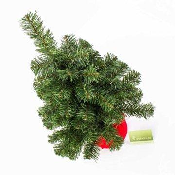 artplants.de Mini Weihnachtsbaum WARSCHAU, grün, rot, 60cm, Ø 40cm - Plastik Tannenbaum - 4