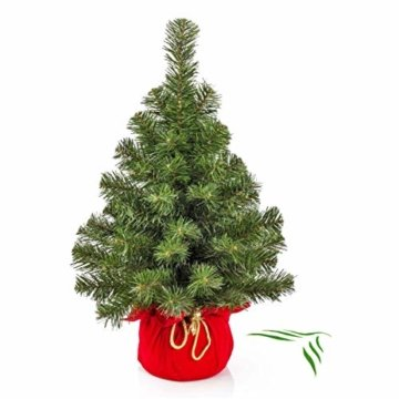 artplants.de Mini Weihnachtsbaum WARSCHAU, grün, rot, 60cm, Ø 40cm - Plastik Tannenbaum - 1