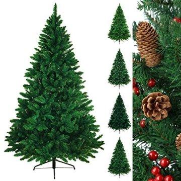 BB Sport Christbaum Weihnachtsbaum PVC Tannenbaum Künstlich Standfuß Klappsystem, Farbe:Mittelgrün, Höhe:150 cm - 1