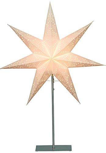 """Best Season Standleuchte Stern""""Sensy 78"""", Metall/Papier, circa 78 x 54 cm, Vierfarb-Karton, crème 234-24 - 1"""