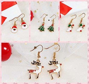 BESTEEL 8 Paare Edelstahl Weihnachten Ohrringe für Herren Damen Mädchen Kinder Baumeln Süß Fest Urlaub Weihnachtsmann Schneeflocke Schneemann Rentier Geschenk - 4