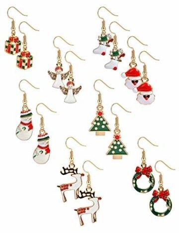 BESTEEL 8 Paare Edelstahl Weihnachten Ohrringe für Herren Damen Mädchen Kinder Baumeln Süß Fest Urlaub Weihnachtsmann Schneeflocke Schneemann Rentier Geschenk - 1