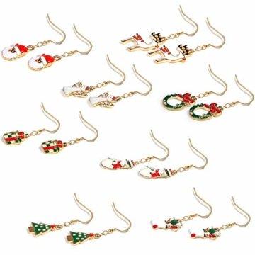 BESTEEL 8 Paare Edelstahl Weihnachten Ohrringe für Herren Damen Mädchen Kinder Baumeln Süß Fest Urlaub Weihnachtsmann Schneeflocke Schneemann Rentier Geschenk - 5