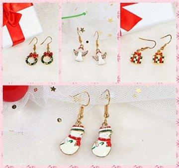 BESTEEL 8 Paare Edelstahl Weihnachten Ohrringe für Herren Damen Mädchen Kinder Baumeln Süß Fest Urlaub Weihnachtsmann Schneeflocke Schneemann Rentier Geschenk - 7