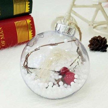 BESTOYARD Weihnachtskugel mit Tannenzapfen Beeren Klar Schneekugel Design Weihnachatsbaum Anhänger Weihnachtsbaumschmuck 5 Stück - 2