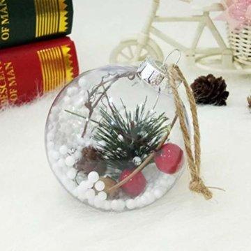 BESTOYARD Weihnachtskugel mit Tannenzapfen Beeren Klar Schneekugel Design Weihnachatsbaum Anhänger Weihnachtsbaumschmuck 5 Stück - 3