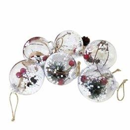 BESTOYARD Weihnachtskugel mit Tannenzapfen Beeren Klar Schneekugel Design Weihnachatsbaum Anhänger Weihnachtsbaumschmuck 5 Stück - 1