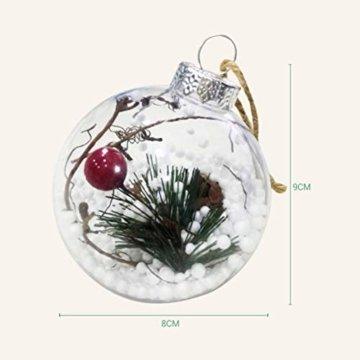 BESTOYARD Weihnachtskugel mit Tannenzapfen Beeren Klar Schneekugel Design Weihnachatsbaum Anhänger Weihnachtsbaumschmuck 5 Stück - 4