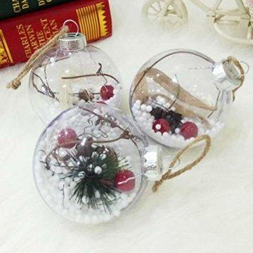 BESTOYARD Weihnachtskugel mit Tannenzapfen Beeren Klar Schneekugel Design Weihnachatsbaum Anhänger Weihnachtsbaumschmuck 5 Stück - 6