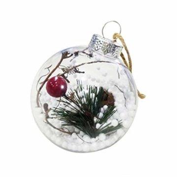 BESTOYARD Weihnachtskugel mit Tannenzapfen Beeren Klar Schneekugel Design Weihnachatsbaum Anhänger Weihnachtsbaumschmuck 5 Stück - 7