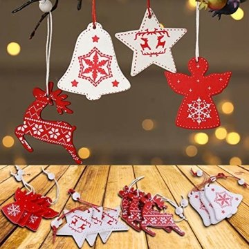 BESTZY Holz Weihnachten Anhänger 24 Stück Weihnachtsbaumschmuck Holz Weihnachten Anhänger Deko Rot und Weiß für Weihnachtsdeko Verzierung - 3
