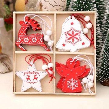 BESTZY Holz Weihnachten Anhänger 24 Stück Weihnachtsbaumschmuck Holz Weihnachten Anhänger Deko Rot und Weiß für Weihnachtsdeko Verzierung - 6