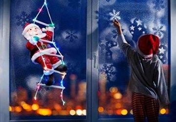 Bonetti Weihnachtsmann auf Strickleiter, die Leiter ist mit 30 bunten LEDs beleuchtet, kletternder Nikolaus für Innen- und Außen (traditionell) - 2