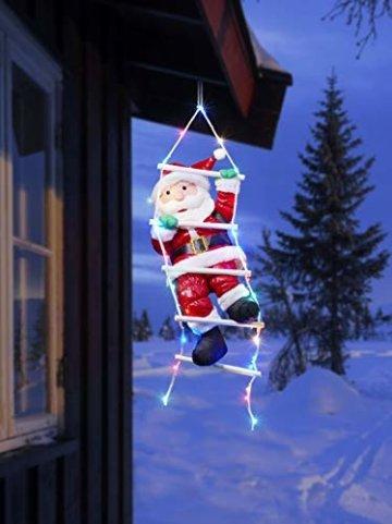 Bonetti Weihnachtsmann auf Strickleiter, die Leiter ist mit 30 bunten LEDs beleuchtet, kletternder Nikolaus für Innen- und Außen (traditionell) - 3