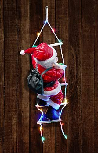 Bonetti Weihnachtsmann auf Strickleiter, die Leiter ist mit 30 bunten LEDs beleuchtet, kletternder Nikolaus für Innen- und Außen (traditionell) - 4