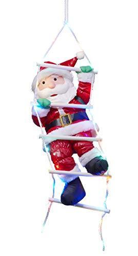 Bonetti Weihnachtsmann auf Strickleiter, die Leiter ist mit 30 bunten LEDs beleuchtet, kletternder Nikolaus für Innen- und Außen (traditionell) - 1
