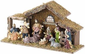 Britesta Krippe: Hochwertige Holz-Weihnachtskrippe, große handbemalte Porzellan-Figuren (Krippe mit handbemalten Figuren) - 2