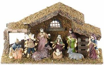 Britesta Krippe: Hochwertige Holz-Weihnachtskrippe, große handbemalte Porzellan-Figuren (Krippe mit handbemalten Figuren) - 3