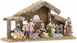 Britesta Krippe: Hochwertige Holz-Weihnachtskrippe, große handbemalte Porzellan-Figuren (Krippe mit handbemalten Figuren) - 1