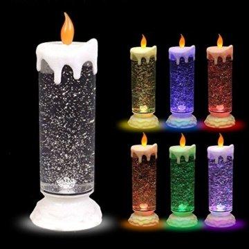 BURI LED-Glitterkerze mit Farbwechsler 24cm Weihnachtskerze Adventskerze Motivkerze - 1