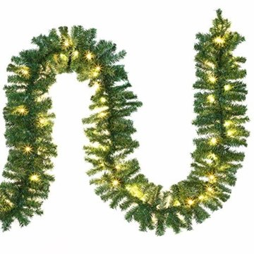Casaria Weihnachtsgirlande I 5m I 100 LED's I In- & Outdoor I Tannengirlande Tannenzweiggirlande Weihnachtsdeko - 1