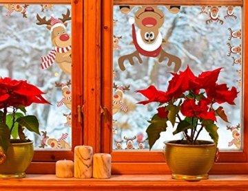 CheChury Netter Weihnachtsmann Weihnachten selbstklebend Fensterdeko Weihnachtsdeko Sterne Weihnachts Rentier Aufkleber Schneeflocken Aufkleber Winter Dekoration Weihnachtsdeko Weihnachten Removable - 4