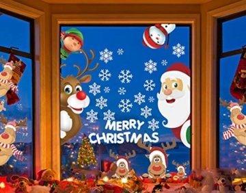 CheChury Netter Weihnachtsmann Weihnachten selbstklebend Fensterdeko Weihnachtsdeko Sterne Weihnachts Rentier Aufkleber Schneeflocken Aufkleber Winter Dekoration Weihnachtsdeko Weihnachten Removable - 1