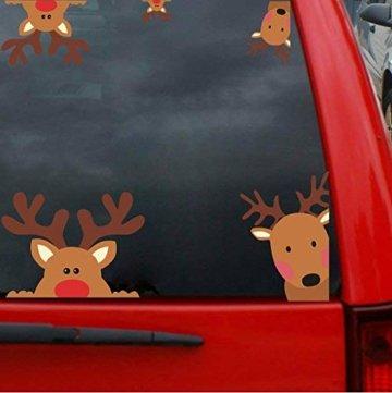 CheChury Netter Weihnachtsmann Weihnachten selbstklebend Fensterdeko Weihnachtsdeko Sterne Weihnachts Rentier Aufkleber Schneeflocken Aufkleber Winter Dekoration Weihnachtsdeko Weihnachten Removable - 6