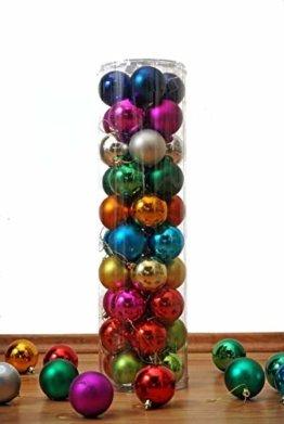 Christbaumkugeln 40er Set - in 10 Farben gemischt - Durchmesser 6 cm - 1