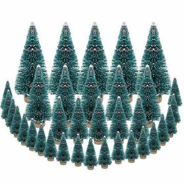 DECARETA 35 Stück Künstlicher Weihnachtsbaum, Mini Grün Tannenbaum, 4.5/6.5/8.5/12.5cm Naturgetreuer Christbaum für Tischdeko, DIY, Schaufenster (Grün) - 1