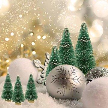 DECARETA 35 Stück Künstlicher Weihnachtsbaum, Mini Grün Tannenbaum, 4.5/6.5/8.5/12.5cm Naturgetreuer Christbaum für Tischdeko, DIY, Schaufenster (Grün) - 7